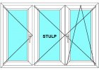 Plastové okno 220x90 Trojdílné se středovým sloupkem Aluplast Ideal 4000 - Maco Multi-Trend