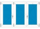 Plastové okno 220x150 Trojdílné se středovým sloupkem Aluplast Ideal 4000
