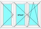Plastové okno 300x170 Trojdílné se středovým sloupkem Aluplast Ideal 4000