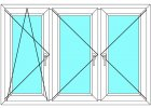 Plastové okno 160x130 Trojdílné se sloupky Aluplast Ideal 4000 Maco - Barva Bílá-Mahagon