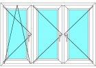 Plastové okno 160x130 Trojdílné se sloupky Aluplast Ideal 4000 Maco - Barva Bílá-Zlatý dub