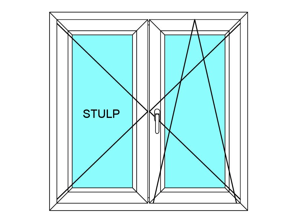 Plastové okno 130x130 Dvoudílné bez středového sloupku Aluplast Ideal 4000