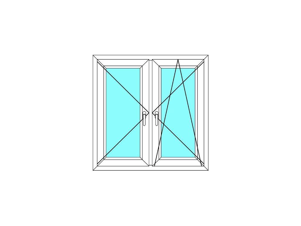 Plastové okno 90x100 Dvoudílné se středovým sloupkem Aluplast Ideal 4000