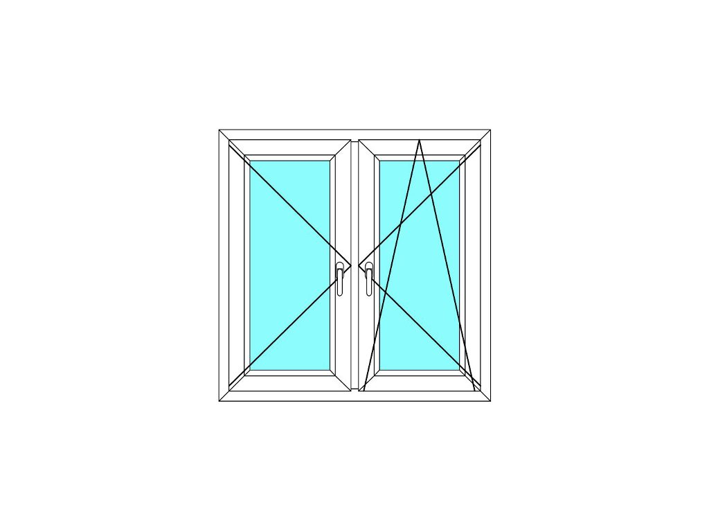 Plastové okno 90x160 Dvoudílné se středovým sloupkem Aluplast Ideal 4000