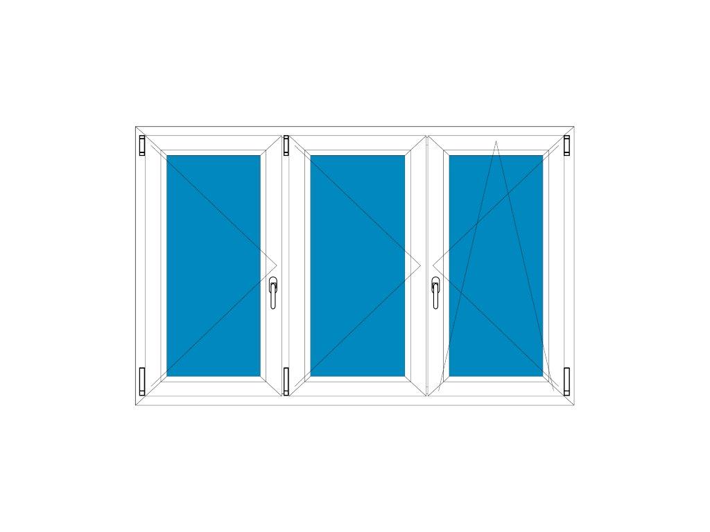 Plastové okno 220x140 Trojdílné se středovým sloupkem Aluplast Ideal 4000