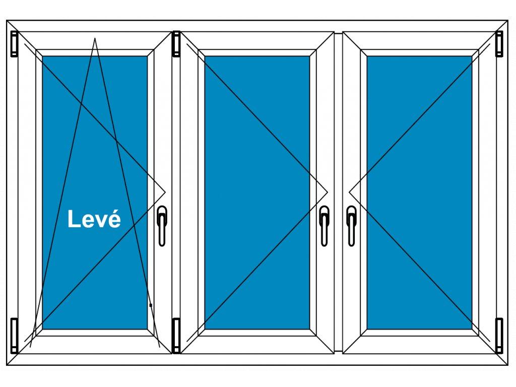 Plastové okno 140x130 Trojdílné se sloupky Aluplast Ideal 4000