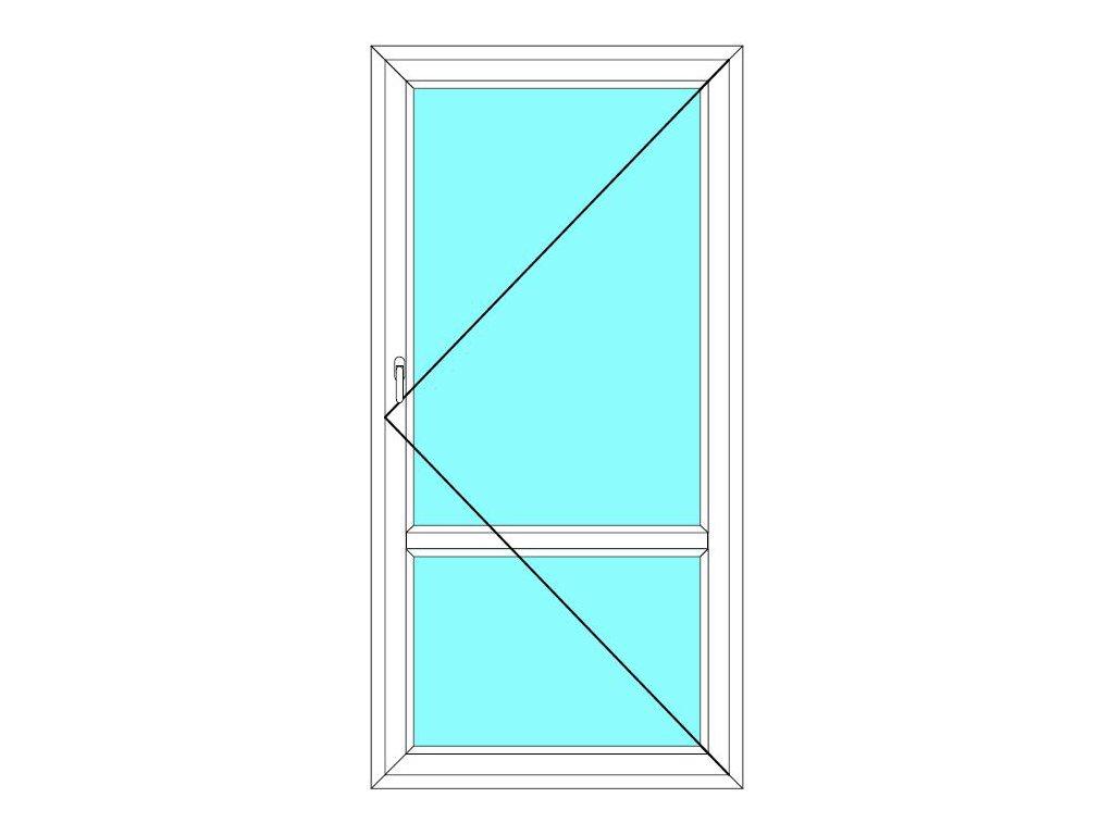 Balkónové dveře 100x210 Jednokřídlé Otevírací dělené Aluplast Ideal 4000