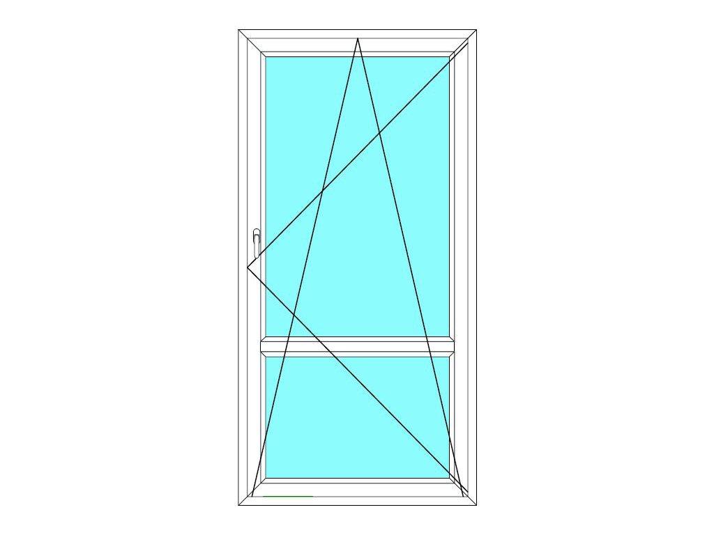 Balkónové dveře 90x200 Jednokřídlé Otevírací a Sklopné dělené Aluplast Ideal 4000
