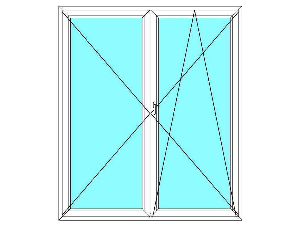 Balkónové dveře 120x220 Dvoukřídlé Aluplast Ideal 4000
