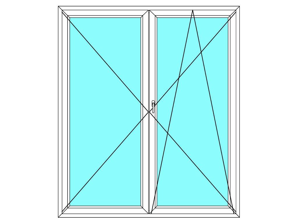 Balkónové dveře 180x200 Dvoukřídlé Aluplast Ideal 4000