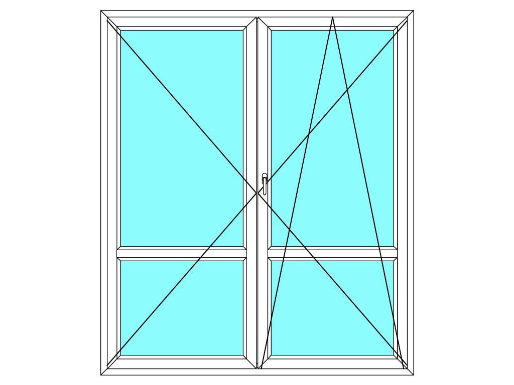 Balkónové dveře 130x240 Dvoukřídlé dělené Aluplast Ideal 4000
