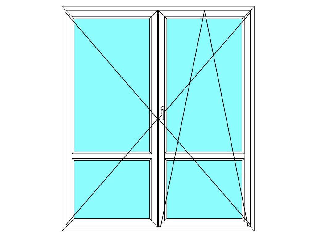 Balkónové dveře 200x230 Dvoukřídlé dělené Aluplast Ideal 4000