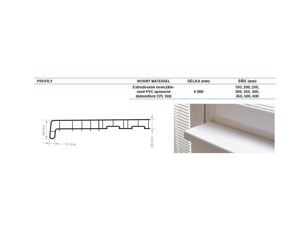 Parapety vnitřní PVC REHAU 250 mm