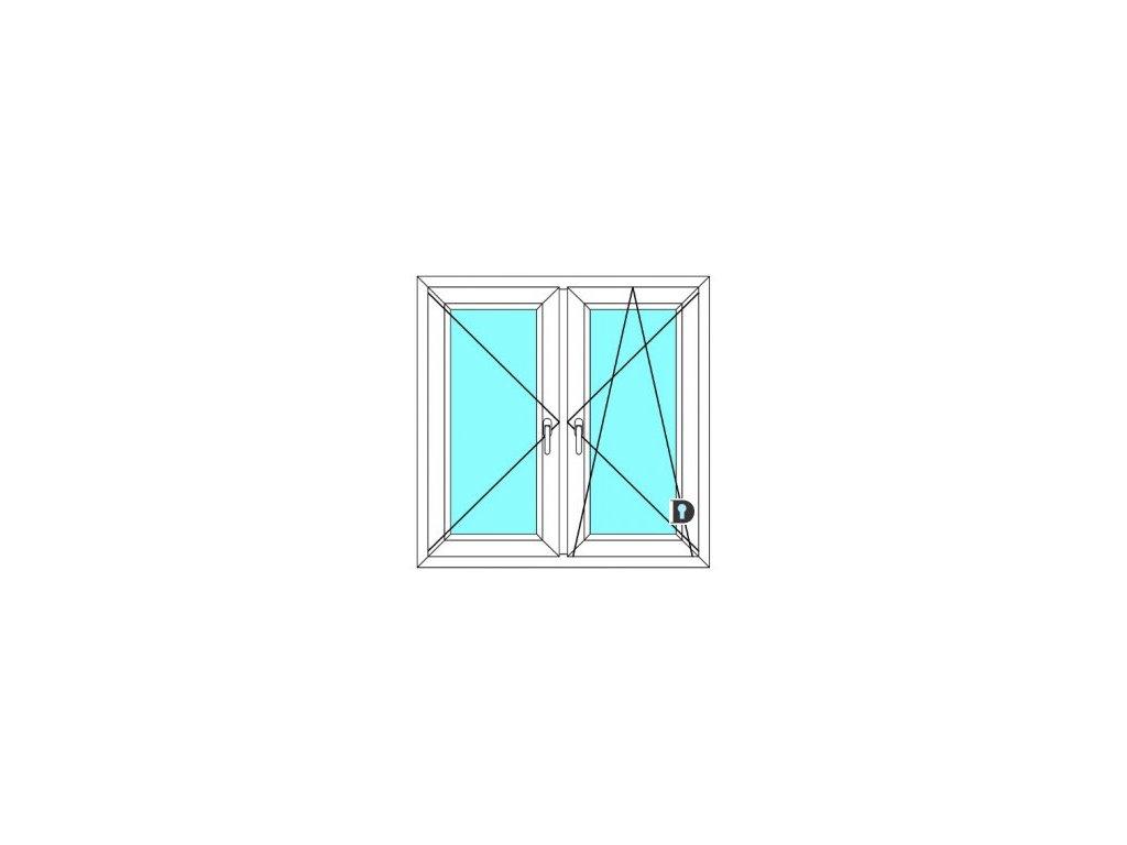 Plastové okno 100x100 Dvoudílné se středovým sloupkem Ekosun 6