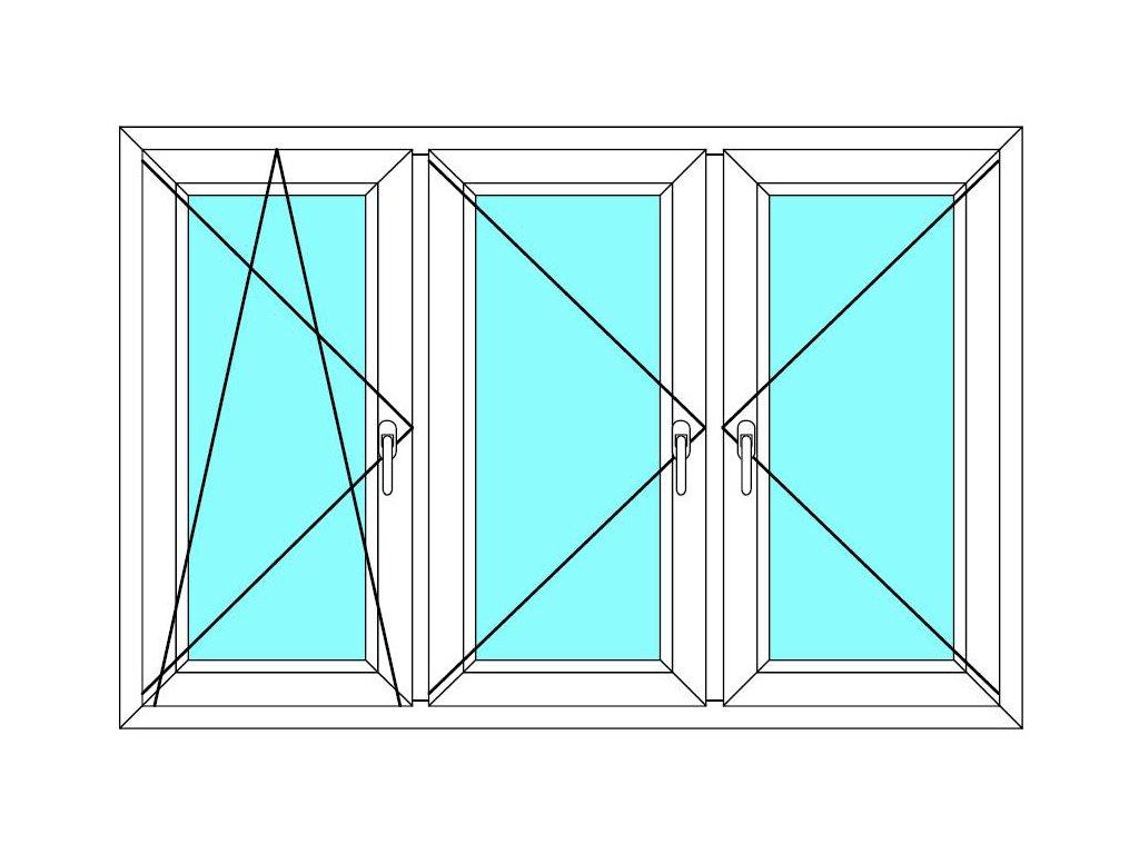 Plastové okno 150x70 Trojkřídlé se sloupky Ekosun 6