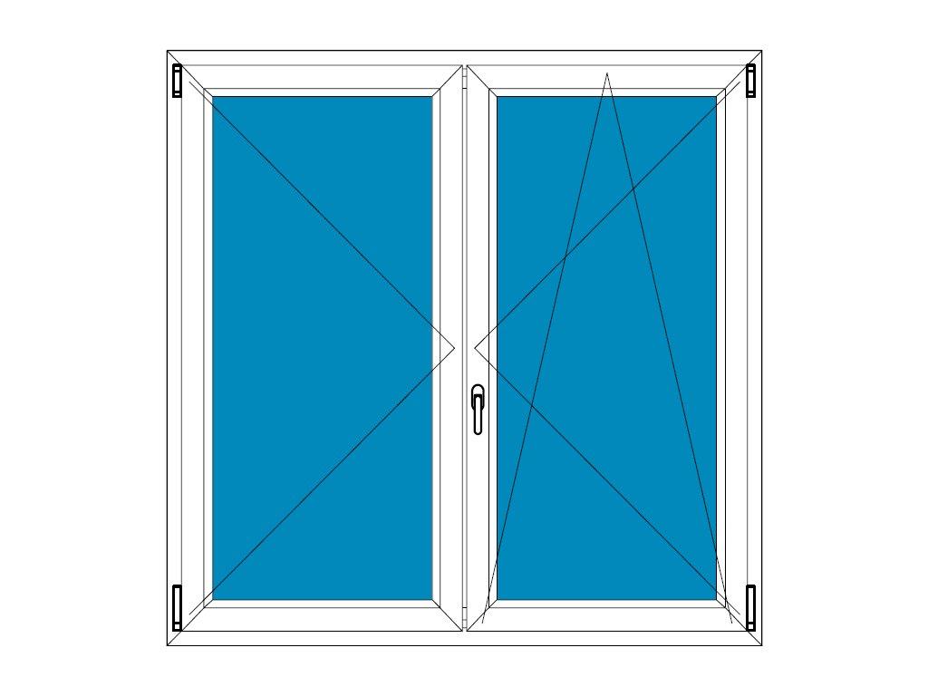 Plastové okno 115x125 Dvoudílné bez středového sloupku Aluplast Ideal 4000 - Barva Bílá - Tmavý dub