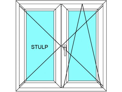 Plastové okno 200x90 Dvoudílné bez středového sloupku Aluplast Ideal 4000