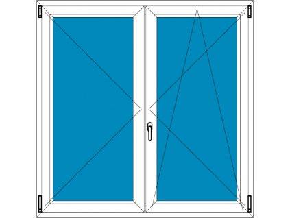 Plastové okno 210x100 Dvoudílné bez středového sloupku Aluplast Ideal 4000