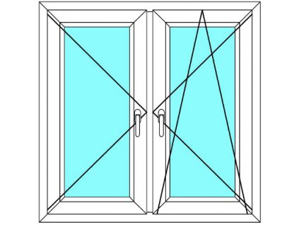 Plastové okno 100x190 Dvoudílné se středovým sloupkem Aluplast Ideal 4000