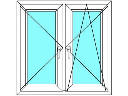 Plastové okno 220x80 Dvoudílné se středovým sloupkem Aluplast Ideal 4000