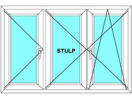 Plastové okno 250x170 Trojdílné se středovým sloupkem Aluplast Ideal 4000