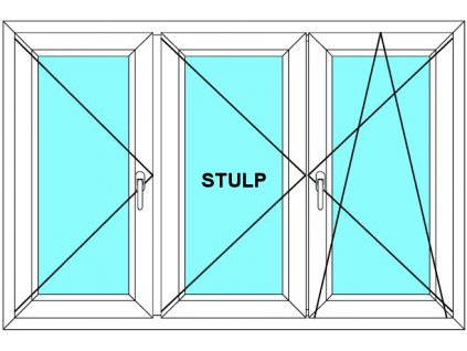 Plastové okno 300x80 Trojdílné se středovým sloupkem Aluplast Ideal 4000