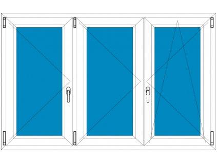 Plastové okno 300x90 Trojdílné se středovým sloupkem Aluplast Ideal 4000