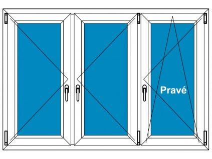 Plastové okno 170x90 Trojdílné se sloupky Aluplast Ideal 4000