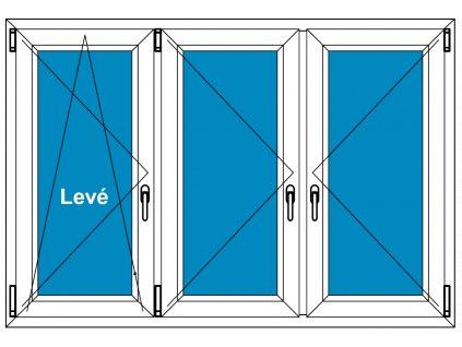 Plastové okno 260x80 Trojdílné se sloupky Aluplast Ideal 4000