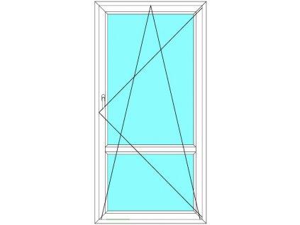 Balkónové dveře 100x210 Jednokřídlé Otevírací a Sklopné dělené Aluplast Ideal 4000