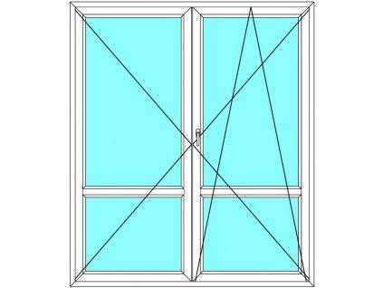 Balkónové dveře 130x200 Dvoukřídlé dělené Aluplast Ideal 4000