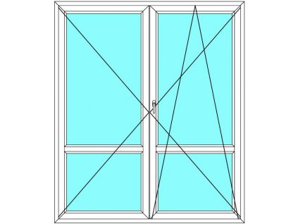 Balkónové dveře 200x200 Dvoukřídlé dělené Aluplast Ideal 4000