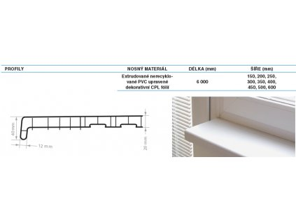 Parapety vnitřní PVC REHAU 200 mm