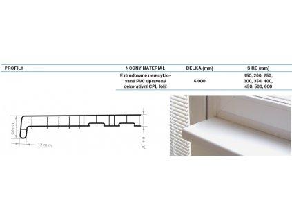 Parapety vnitřní PVC REHAU 350 mm