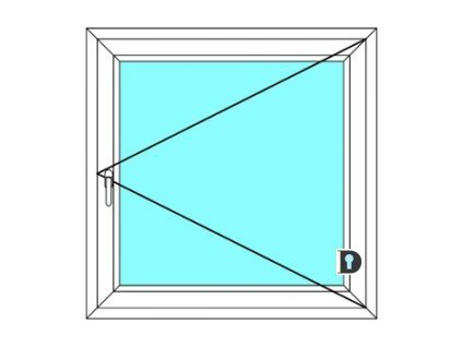Plastové okno 50x180 cm Jednokřídlé Otevírací Ekosun 6