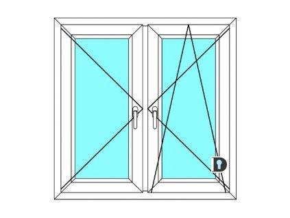 Plastové okno 210x80 Dvoudílné se středovým sloupkem Ekosun 6