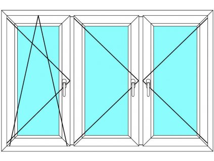 Plastové okno 220x80 Trojkřídlé se sloupky Ekosun 6