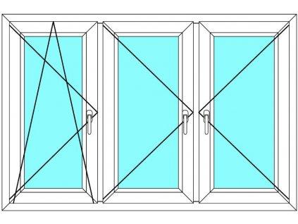 Plastové okno 300x70 Trojkřídlé se sloupky Ekosun 6