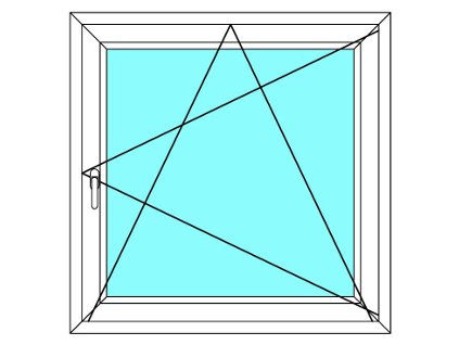 Plastové okno 130x124 Otevírací a Sklopné Aluplast Ideal 4000 Barva Bílá - Zlatý dub, Otevíraníí: Pravé