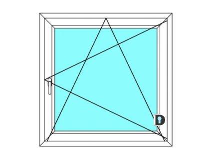 Plastové okno | 90x120 cm | Otevírací a sklopné Ekosun 6 | Barva Bílá zevnítř- Tmavý dub ven