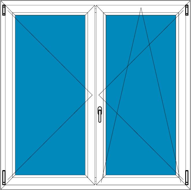 Plastové okno 100x100 Dvoudílné bez středového sloupku Aluplast Ideal 4000 - Maco Multi-Trend BARVA PROFILU: Bílá - Dekor