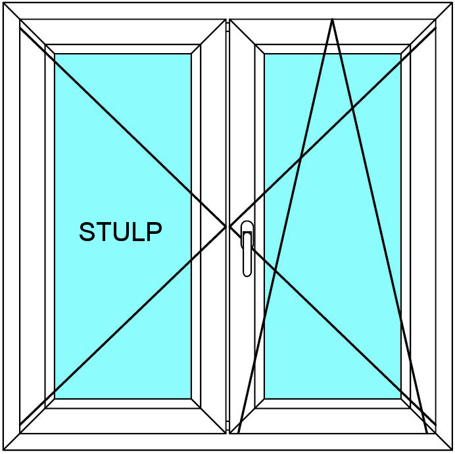 Plastové okno 120x120 Dvoudílné bez středového sloupku Aluplast Ideal 4000 - Maco Multi-Trend BARVA PROFILU: Bílá - Bílá