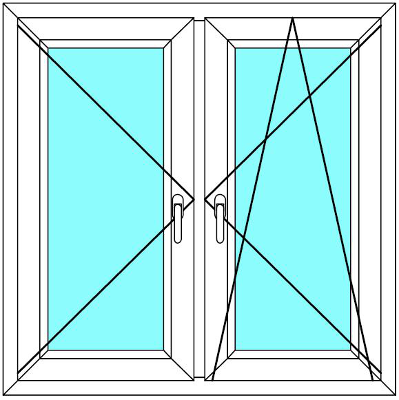 Plastové okno 120x120 Dvoudílné se středovým sloupkem Aluplast Ideal 4000 - Maco Multi-Trend BARVA PROFILU: Bílá - Bílá