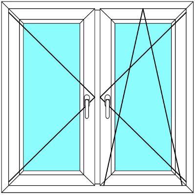 Plastové okno 160x190 Dvoudílné se středovým sloupkem Aluplast Ideal 4000 - Maco Multi-Trend BARVA PROFILU: Dekor - Dekor