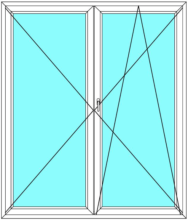 Balkónové dveře 100x210 Dvoukřídlé Aluplast Ideal 4000 - Maco Multi-Trend BARVA PROFILU: Bílá - Bílá