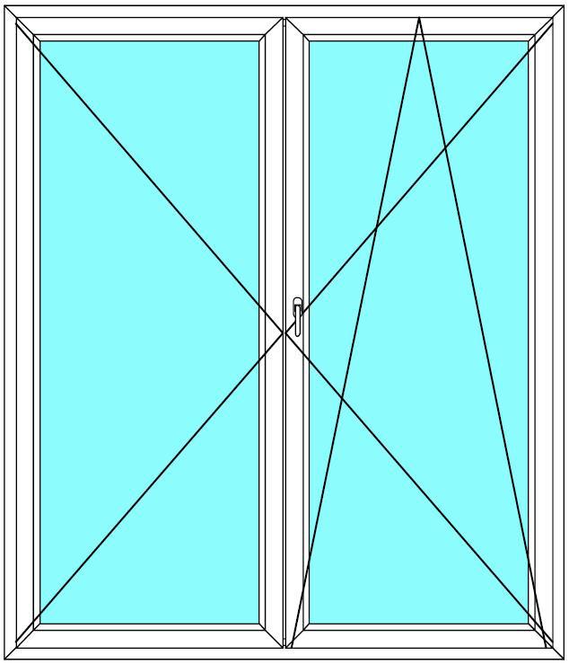 Balkónové dveře 130x220 Dvoukřídlé Aluplast Ideal 4000 - Maco Multi-Trend BARVA PROFILU: Bílá - Bílá
