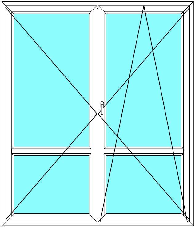 Balkónové dveře 210x200 Dvoukřídlé dělené Aluplast Ideal 4000 - Maco Multi-Trend BARVA PROFILU: Bílá - Bílá