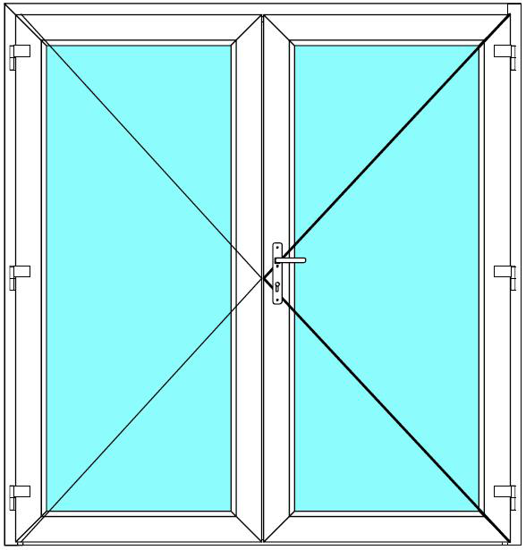 Vchodové dveře 150x210 Dvoukřídlé Aluplast Ideal 4000 BARVA PROFILU: Bílá - Bílá