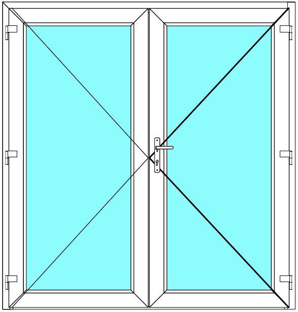 Vchodové dveře 170x190 Dvoukřídlé Aluplast Ideal 4000 BARVA PROFILU: Bílá - Bílá