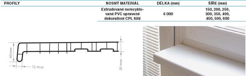 Parapety vnitřní PVC REHAU 150 mm Barva: mramor